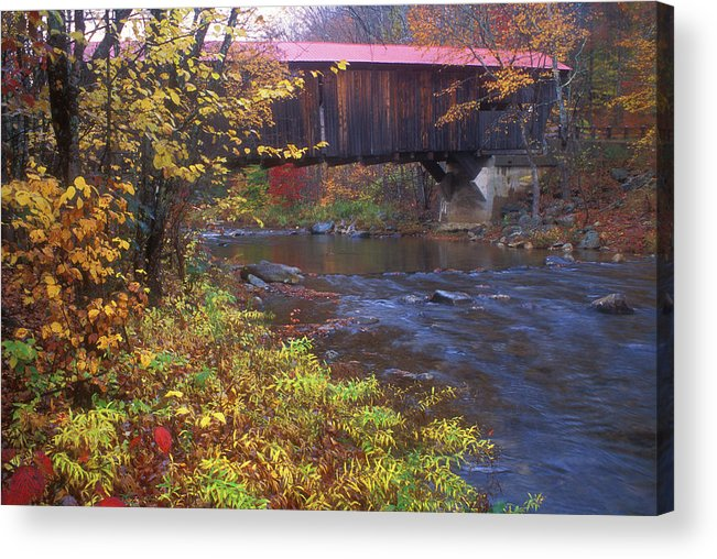 New Hampshire Acrylic Print featuring the photograph Durgin Covered Bridge Sandwich by John Burk