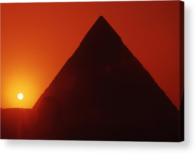Ancient; Antiquity; Antiquated; Archaeology; Archaelogical; Atmospheric; Egypt Acrylic Print featuring the photograph Egypt. Sunset Behind The Sphinx And Chephren Pyramid. by Steve Outram