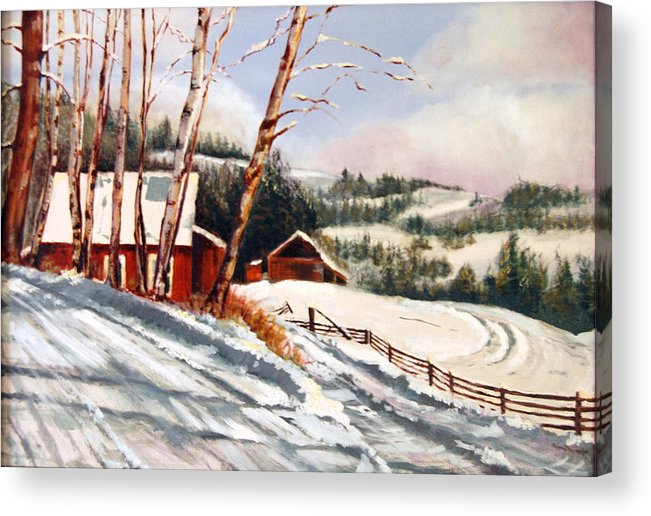 Snow Acrylic Print featuring the painting Elephant Mountain Ranch by Susan Moore