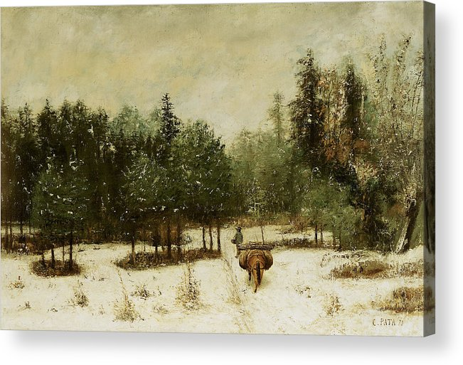 Entrance Acrylic Print featuring the painting Entrance To The Forest In Winter by Cherubino Pata