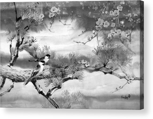 Chinese Painting Acrylic Print featuring the painting Expressions Of Spring by Eileen Fong