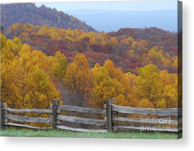 Fence Acrylic Print featuring the photograph Fall Blend by Eric Liller