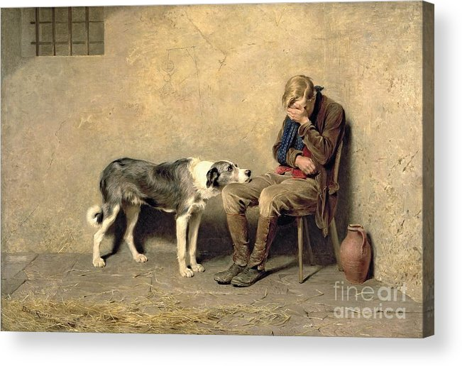 Fidelity Acrylic Print featuring the painting Fidelity by Briton Riviere