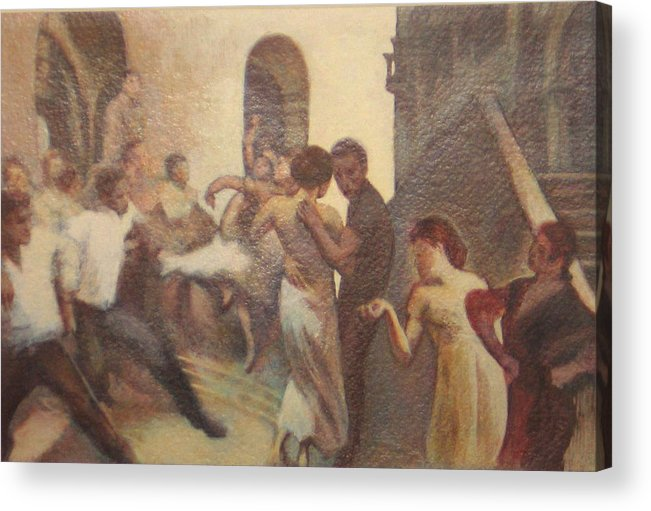 Dancing In The Street Acrylic Print featuring the painting Fiesta Espanola by James LeGros