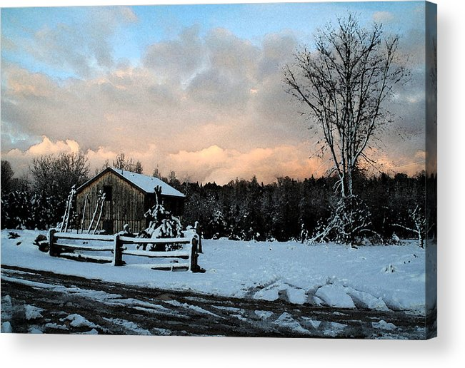Landscapes Acrylic Print featuring the photograph First Snow by Linda Joyce Ott