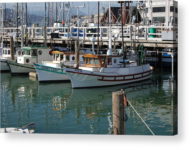 Fishing Acrylic Print featuring the photograph Fishing Boats In San Francisco by Gene Sizemore