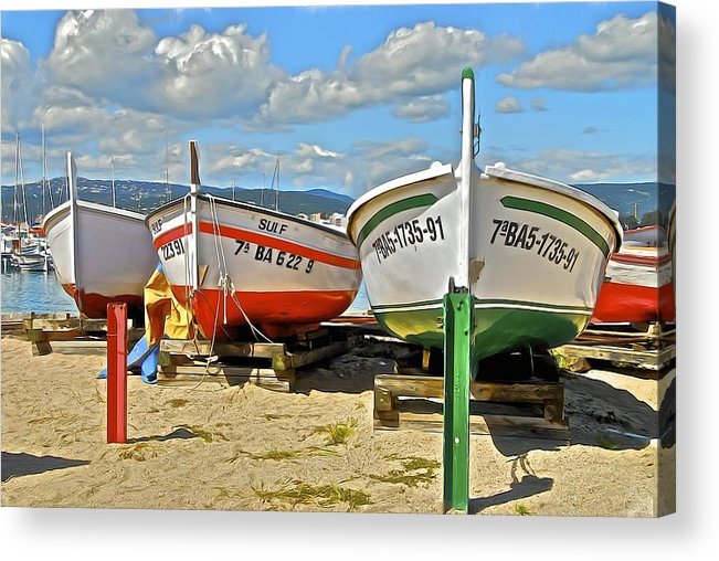 Fishing Acrylic Print featuring the photograph Fishing Boats On The Beach by Georgia Nick