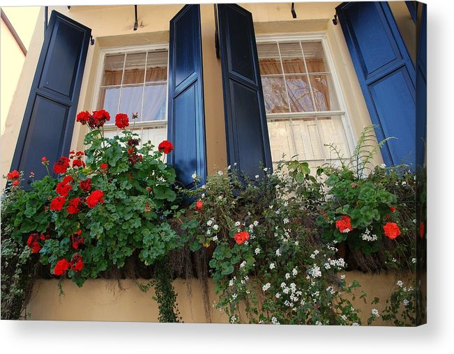 Window Acrylic Print featuring the photograph Flower Window In Charleston Sc by Susanne Van Hulst