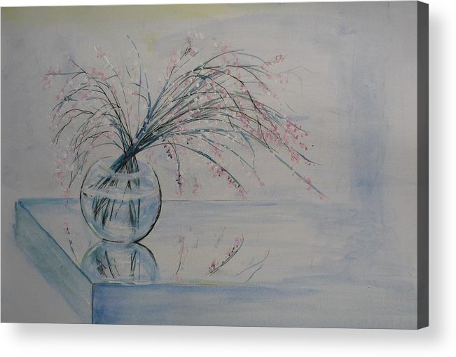 Reflection Acrylic Print featuring the painting Flowers Glass Water And Mirror by Lizzy Forrester