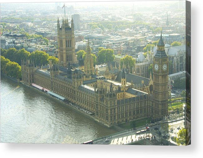 Parliament Acrylic Print featuring the photograph Foggy Day In London Town by Charles Ridgway