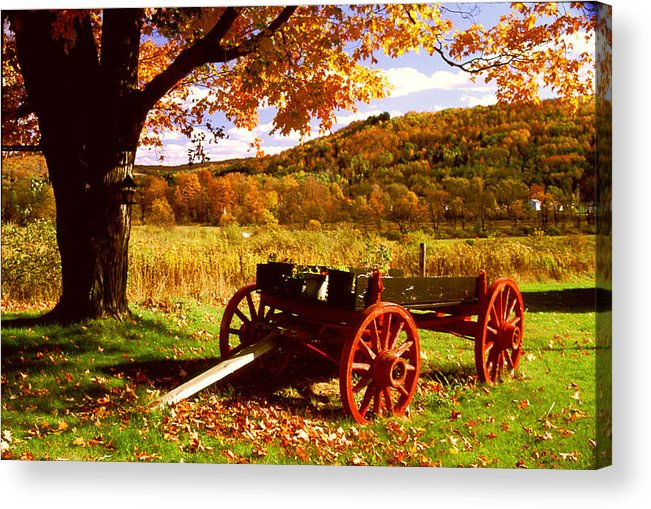 Autumn Acrylic Print featuring the photograph Foliage And Old Wagon by Roger Soule
