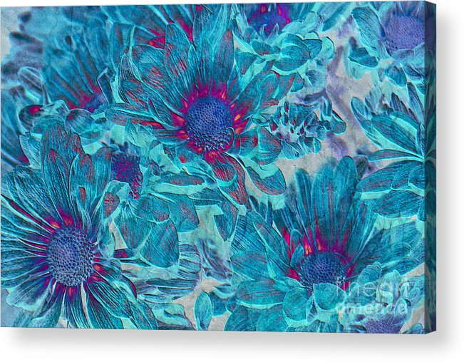 Daisies Acrylic Print featuring the digital art Foulee De Petales - A01t by Variance Collections