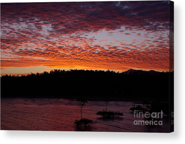 Landscape Acrylic Print featuring the photograph Four Elements Sunset Sequence 2 Coconuts Qld by Kerryn Madsen - Pietsch