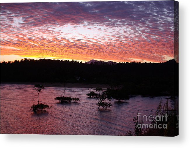 Landscape Acrylic Print featuring the photograph Four Elements Sunset Sequence 3 Coconuts Qld by Kerryn Madsen - Pietsch