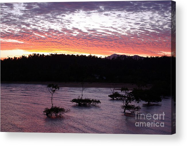 Landscape Acrylic Print featuring the photograph Four Elements Sunset Sequence 8 Coconuts Qld by Kerryn Madsen - Pietsch
