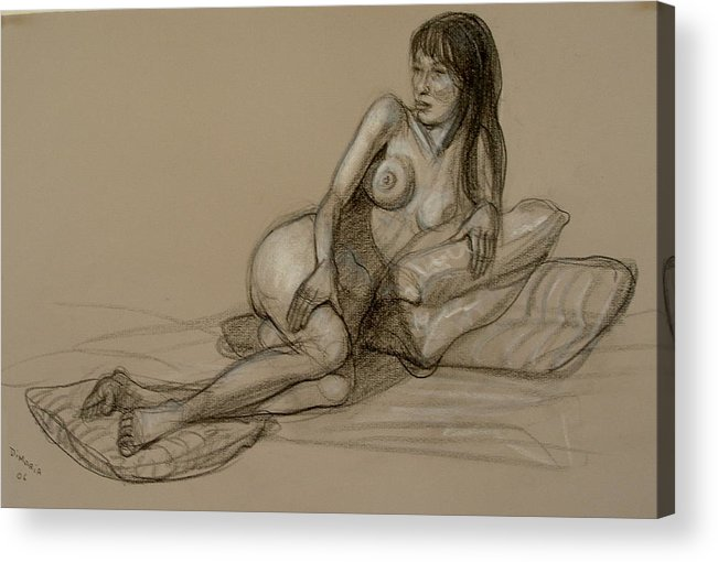 Realism Acrylic Print featuring the drawing French Model by Donelli DiMaria
