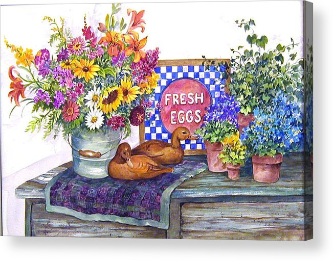 Watercolor;ducks;decoys;floral;mixed Bouquet;potted Plants;checkerboard;quilt; Acrylic Print featuring the painting Fresh Eggs by Lois Mountz