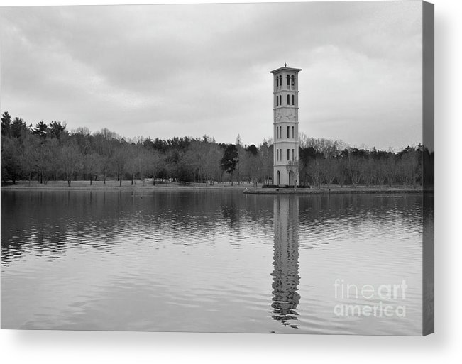Furman University Acrylic Print featuring the photograph Furman Bell Tower 4 Bw by David Waldrop