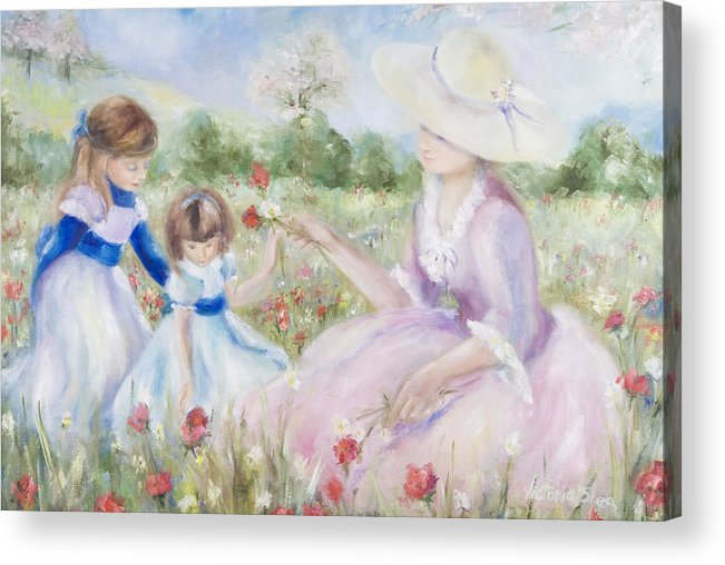 Mother And Child Acrylic Print featuring the painting Gathering Flowers by Victoria Shea