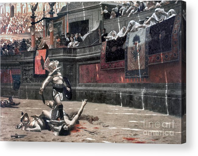 Ancient Acrylic Print featuring the photograph Gerome: Gladiators, 1874 by Granger