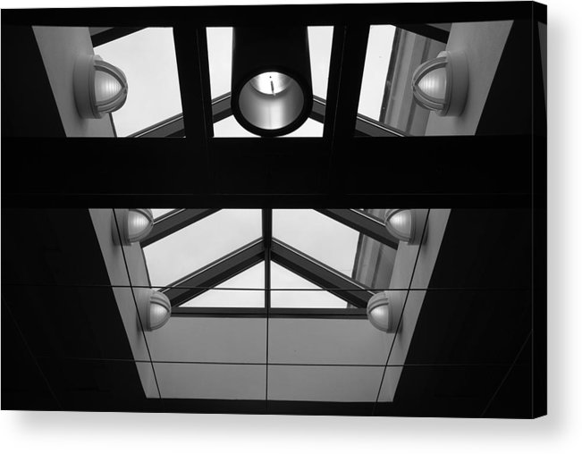 Black And White Acrylic Print featuring the photograph Glass Sky Lights by Rob Hans
