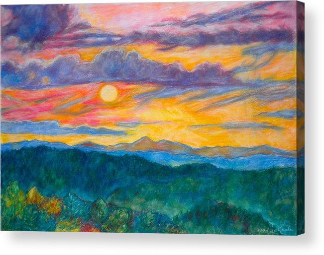 Landscape Acrylic Print featuring the painting Golden Blue Ridge Sunset by Kendall Kessler