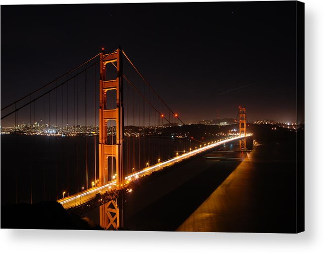 Golden Acrylic Print featuring the photograph Golden Gate Bridge by Gene Sizemore