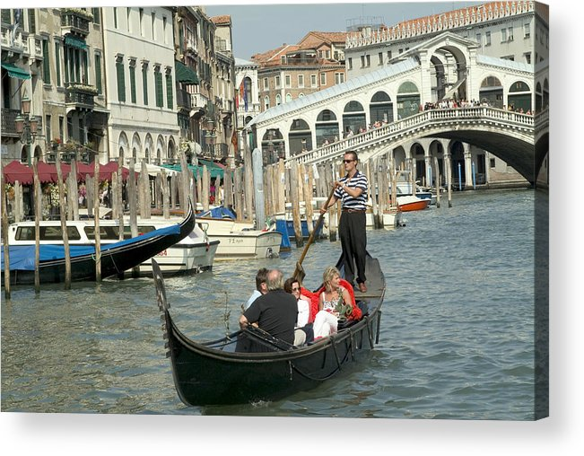 Venice Acrylic Print featuring the photograph Gonfolas On Venice Canal At Rialto Bridge by Charles Ridgway