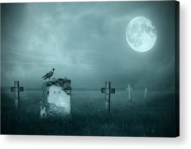 Ancient Acrylic Print featuring the photograph Gravestones In Moonlight by Jaroslaw Grudzinski