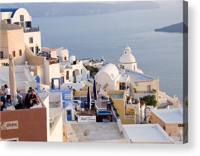 Greek Island Acrylic Print featuring the photograph Greek Island Volcanic Town by Charles Ridgway