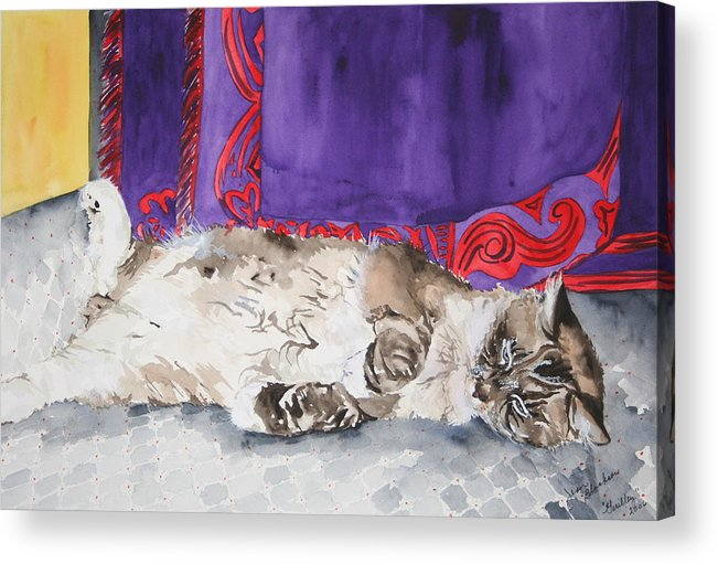 Cat Acrylic Print featuring the painting Guilley by Jean Blackmer