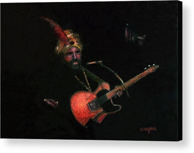 Guitar Acrylic Print featuring the pastel Halloween Gig by Arline Wagner