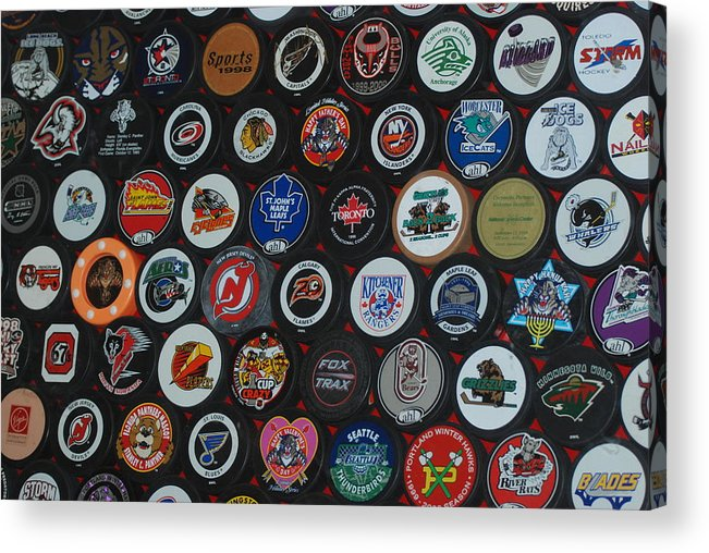 Pop Art Acrylic Print featuring the photograph Hockey Pucks by Rob Hans