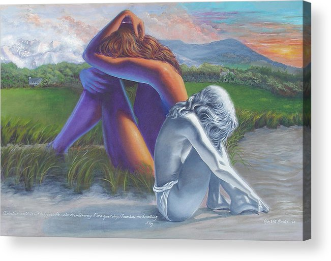 Figure Acrylic Print featuring the painting I Can Hear Her Breathing by JoAnne Castelli-Castor