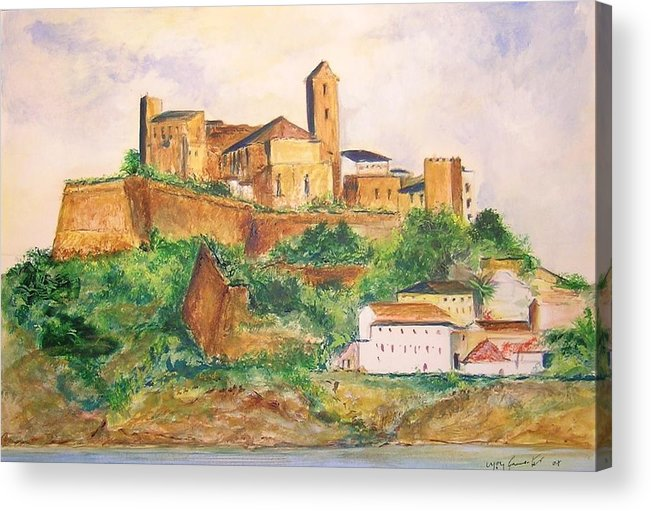 Landscape Acrylic Print featuring the painting Ibiza Old Town Unesco Site by Lizzy Forrester
