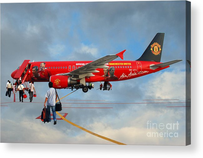 Photography Sky Airplane Passenger People Football Stars Acrylic Print featuring the photograph In The Sky by Ty Lee