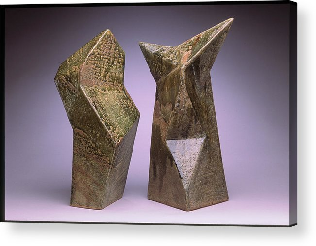 Slab Built Cone 6 Stoneware Acrylic Print featuring the sculpture Interrelated Forms by Stephen Hawks