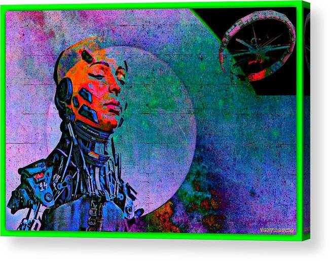 Jive Bot/robotics And Consciousness/she Had Left Her Robotic Body/ Acrylic Print featuring the digital art Jive Bot/robotics And Consciousness/she Had Left Her Robotic Body/ by Tony Adamo