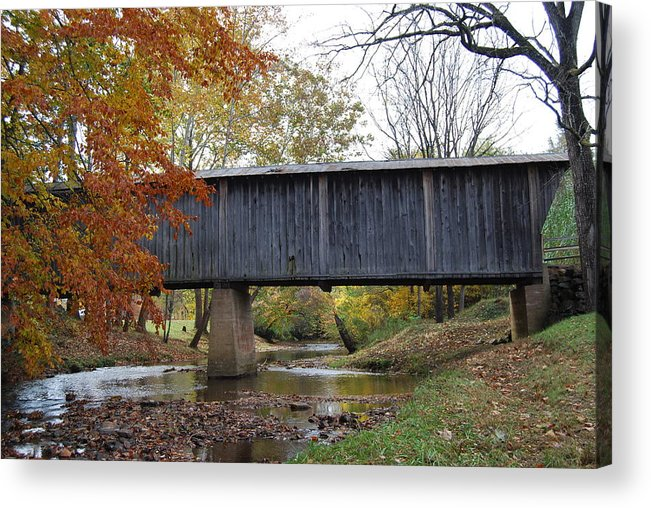 Landscape Acrylic Print featuring the photograph Kissing Bridge At Fall by Eric Liller