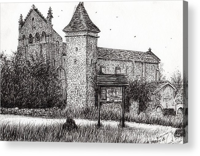Abbey Acrylic Print featuring the drawing L'abbeye Blassimon by Vincent Alexander Booth