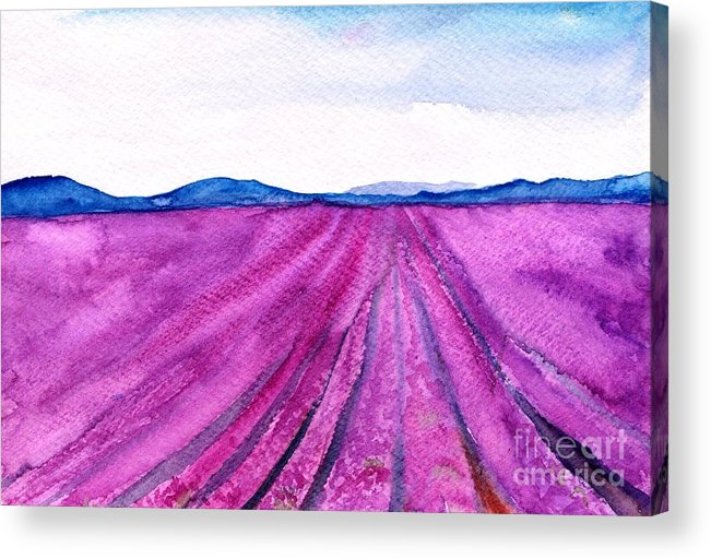 Lavender Field Acrylic Print featuring the painting Lavender by Sweeping Girl