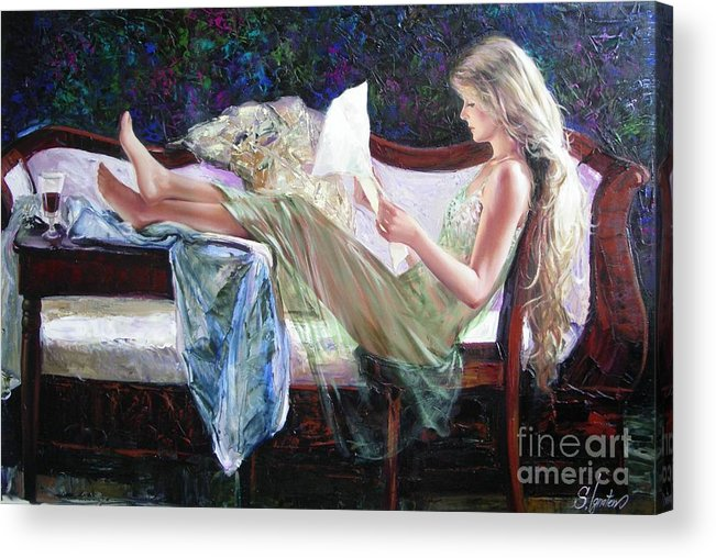 Figurative Acrylic Print featuring the painting Letter From Him by Sergey Ignatenko