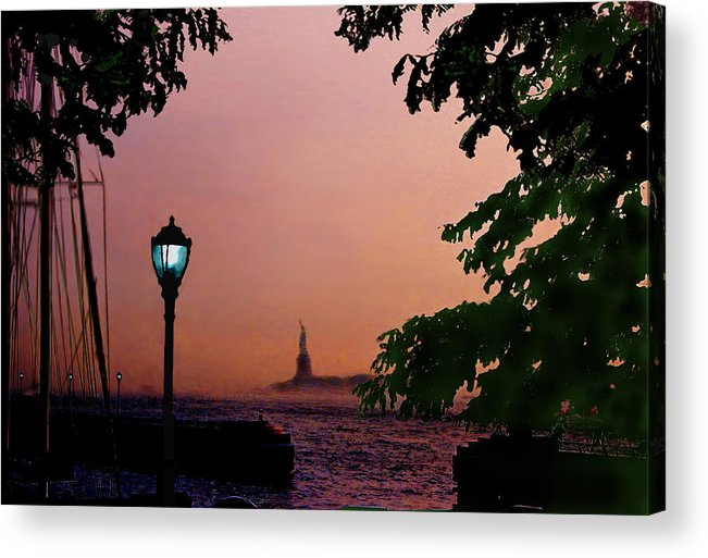 Seascape Acrylic Print featuring the digital art Liberty Fading Seascape by Steve Karol