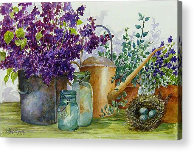Still Life;lilacs; Ball Jars; Watering Can;bird Nest; Bird Eggs; Acrylic Print featuring the painting Lilacs And Ball Jars by Lois Mountz
