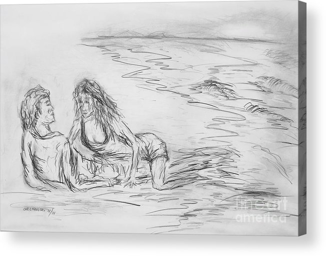 Lovers Man Woman Love Together You And Me On The Beach Lovers On The Beach Still Life  Acrylic Print featuring the drawing lovers I by Miroslaw Chelchowski