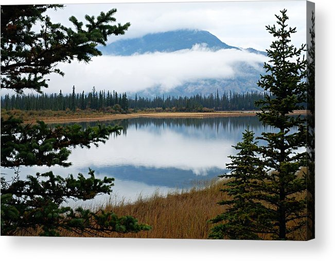 Athabasca River Acrylic Print featuring the photograph Low Hanging Clouds by Larry Ricker