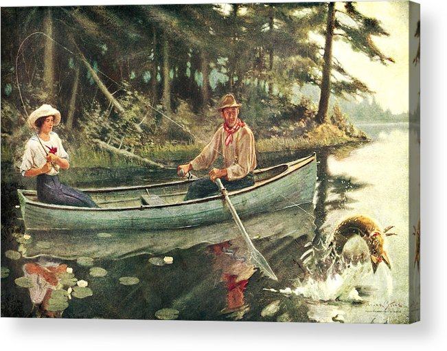 Frank Stick Acrylic Print featuring the painting Man And Woman Fishing by JQ Licensing