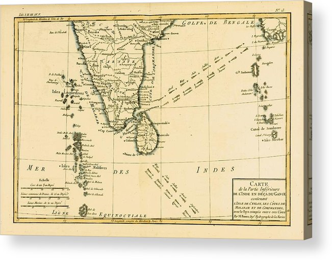 Southern Acrylic Print featuring the drawing Map Of Southern India, Circa.1760. From by Vintage Design Pics