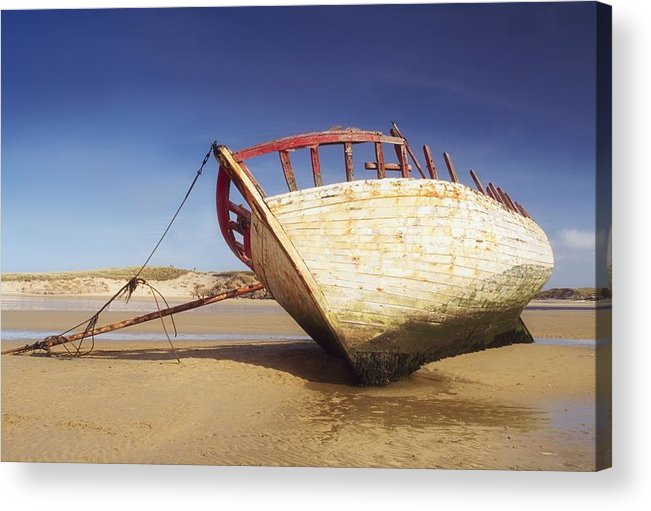 Beach Acrylic Print featuring the photograph Marooned Boat by The Irish Image Collection