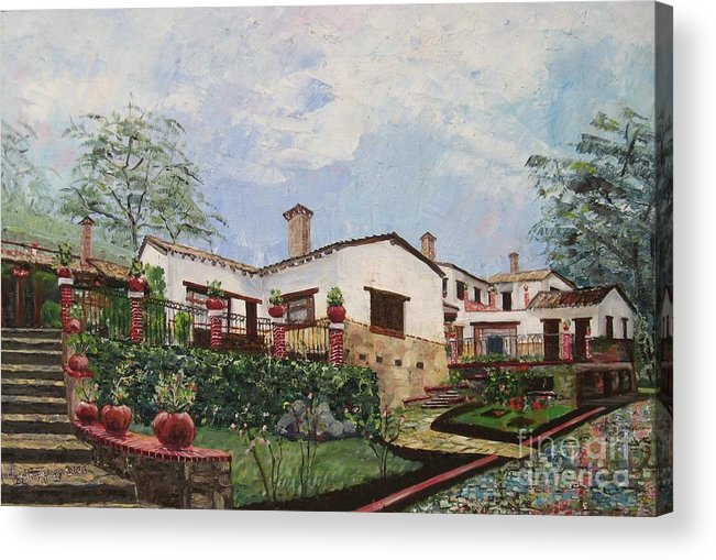 White Stucco Building Acrylic Print featuring the painting Mexican Hacienda After The Rain by Judith Espinoza